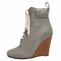Chloe Grey Leather Lace Up Wedge Ankle Boots Size 37.5 291058