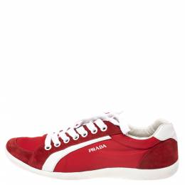 Prada Sport Red Leather and Nylon Low Top Sneakers Size 42 290908