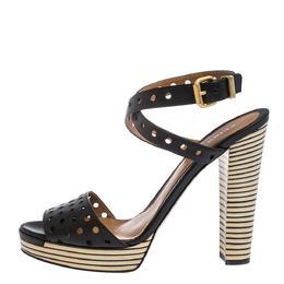 Fendi Black Perforated Ankle Strap Platform Sandals Size 40 290917