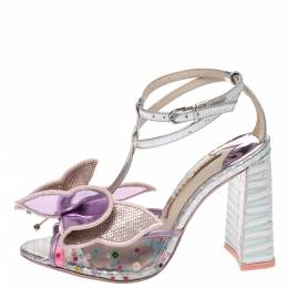 Sophia Webster Multicolor Metallic Leather And PVC Lana Crystal Embellished Block Heel Sandals Size 36 290915