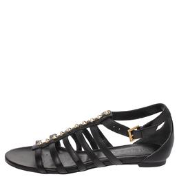 Alexander McQueen Black Leather Spike Detail Flat Gladiator Sandals Size 38 290914