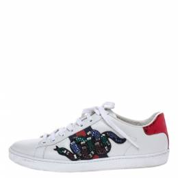 Gucci White Leather Crystal Embellished Snake Python Trim Web Detail Ace Low Top Sneakers Size 37.5 291091