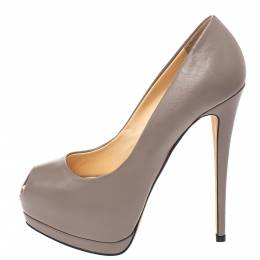 Giuseppe Zanotti Design Taupe Leather Peep Toe Platform Pumps Size 37 290943