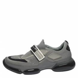 Prada Grey/Black Mesh and Leather Cloudbust Sneakers Size 41 291148