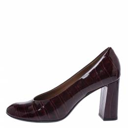 Marc By Marc Jacobs Burgundy Croc Embossed Patent Leather Block Heel Pumps Size 38.5 291126
