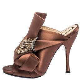 No. 21 Brown Embellished Satin Knot Mules Sandals Size 38 291113