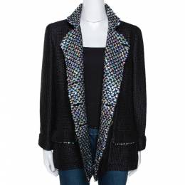 Chanel Black Silk Sequin Embellished Double Breasted Jacket L 290607