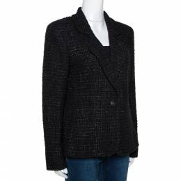 Chanel Black Tweed Single Button Tailored Jacket L 290605