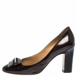Salvatore Ferragamo Brown Patent Leather Tortoise Buckle Pumps Size 39 291109