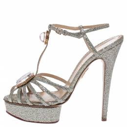 Charlotte Olympia Silver Glitter Fabric Leading Lady Platform Ankle Strap Sandals 41 291105
