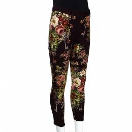 Dolce&Gabbana Brown Crepe Key Print Fitted Cropped Pants S 290473