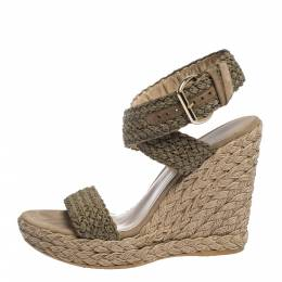 Stuart Weitzman Khaki Woven Fabric Espadrille Wedge Sandals Size 39 291012