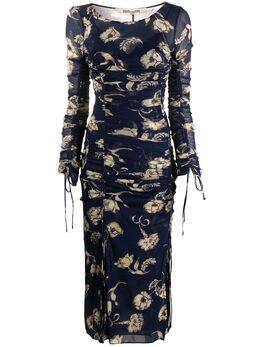 Dvf Diane Von Furstenberg платье с цветочным принтом и сборками 14065DVF