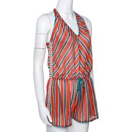 Missoni Mare Orange Striped Knit Cover Up Romper S 290641