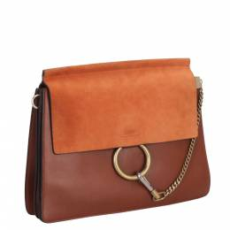 Chloe Brown Suede And Leather Faye Shoulder Bag 290241