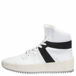Fear Of God White/Black Leather Basketball High Top Sneakers Size 41 291198