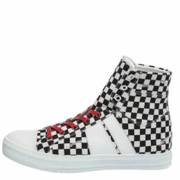 Amiri White/Black Checkered Canvas Sunset High Top Sneakers Size 42 291189