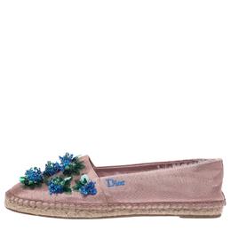 Dior Blush Pink Embellished Fabric Espadrilles Size 37 291363
