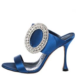 Manolo Blahnik Blue Satin Fibiona Crystal Embellished Mules Size 38 291418