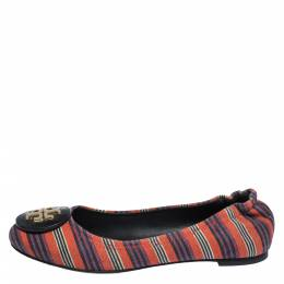 Tory Burch Multicolor Canvas Minnie Scrunch Ballet Flats Size 36.5 291775