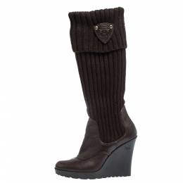 Gucci Dark Brown Leather and Knit Sock Wedge Boots Size 37 291171