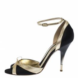 Dolce&Gabbana Black/Gold Satin And Leather Embellished Bow Ankle Strap Sandals Size 38 291313
