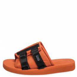 Palm Angels x Suicoke Orange/Black Canvas And Nylon Slide Sandals Size 42 291123