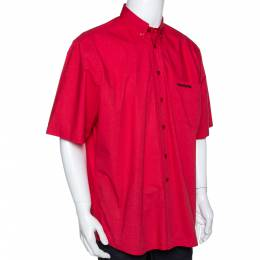 Vetements Red Embroidered Cotton Button Down Short Sleeve Shirt XL 291484
