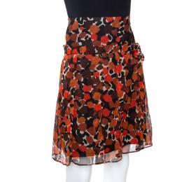 Burberry Brown & Orange Printed Silk Flared A Line Skirt S 290657
