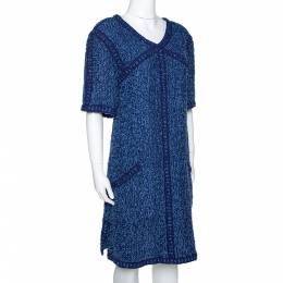 Chanel Blue Boucle Tweed Shift Dress L 290650