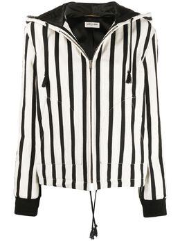 Saint Laurent полосатая куртка с капюшоном 605533Y3A39