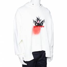 8 Moncler x Palm Angels White Logo Print Cotton Oversized Hoodie S 291659