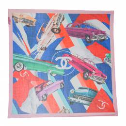 Chanel Multicolor Cuba Car Printed Cotton Square Scarf 290930