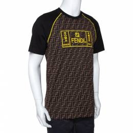 Fendi Brown Zucca Monogram Printed & Embroidered Cotton T-Shirt M 291378
