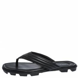 Gucci Black Leather GG Logo Thong Flat Sandals Size 42.5 291360