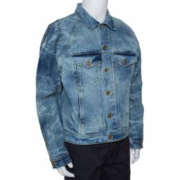 Fear Of God Fifth Collection Indigo Acid Wash Denim Trucker Jacket M 291772
