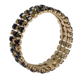 Etro Bi-color Crystal Gold Tone Wide Bangle Bracelet 291337