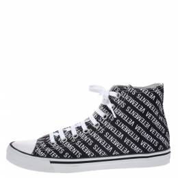 Vetements Black/White Logo Print Canvas Hi-Top Sneakers Size 41 291137