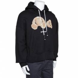 Palm Angels Black Kill The Bear Embroidered Cotton Hoodie M 291476