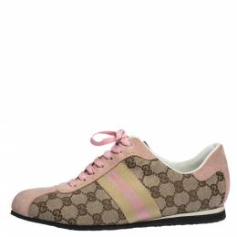 Gucci Beige GG Monogram Canvas and Pink Suede Web Lace Up Sneakers Size 40 291396