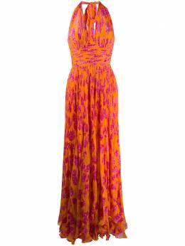 Maria Lucia Hohan длинное платье Paola со складками PAOLA