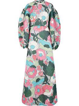 Fendi длинное платье с цветочным принтом FDA754AC4O