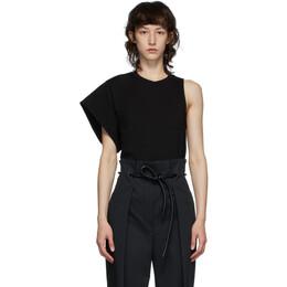 3.1 Phillip Lim Black Asymmetric Sleeve T-Shirt U201-1003NHJ