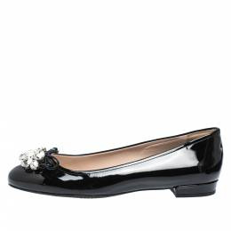 Miu Miu Black Patent Leather Crystal Embellished Ballet Flats Size 38 291406