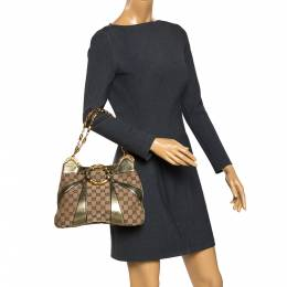 Gucci Beige/Metallic GG Canvas and Leather Limited Edition Tom Ford Bamboo Shoulder Bag 291974