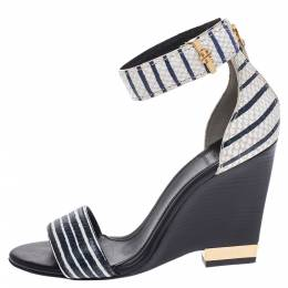 Tory Burch Two Tone Snake Embossed Leather Carolyn Ankle Strap Wedge Sandals Size 37 291993