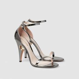 Nicholas Kirkwood Metallic Penelope Pearl Detail Patent Leather Sandals Size IT 38 288993