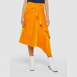 Self-Portrait Yellow Velvet Ruffle Midi Skirt Size UK 6 289108