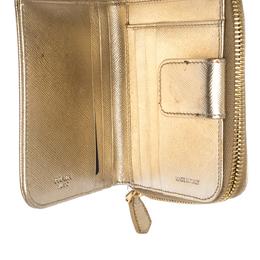 Prada Gold Saffiano Metal Leather Zip Around Compact Wallet 292210