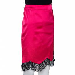 Red Valentino Pink Satin Scalloped Lace Trim Skirt M 290969